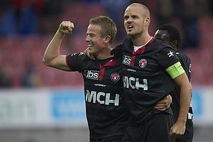 Jeppe Curth, m�lscorer (FC Midtjylland), Kristian Bak Nielsen, anf�rer (FC Midtjylland)