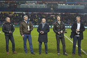 Bent Turbo Christensen (Br�ndby IF Allstars-hold), Per Nielsen (Br�ndby IF Allstars-hold), John Faxe Jensen (Br�ndby IF Allstars-hold), Dan Eggen (Br�ndby IF Allstars-hold), Kim Vilfort (Br�ndby IF Allstars-hold)