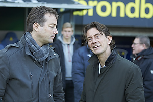 Kasper Hjulmand, cheftr�ner (FC Nordsj�lland), Thomas Frank, cheftr�ner (Br�ndby IF)