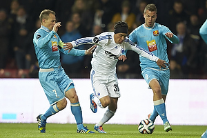 Nikolaj Stokholm, anf�rer (FC Nordsj�lland), Cristian Bolanos (FC K�benhavn), Kim Aabech (FC Nordsj�lland)