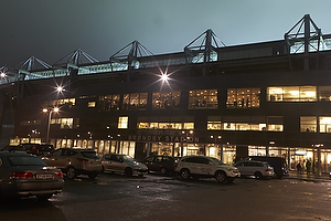 Br�ndby Stadions facade by night