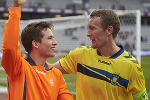 Andrew Hjulsager (Br�ndby IF) og Thomas Kahlenberg, anf�rer (Br�ndby IF) de to m�lscorer i 2-1 sejren til Br�ndby IF