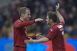 Nikolaj Stokholm (FC Nordsj�lland) udskiftes i sin sidste kamp p� topplan, S�ren Christensen (FC Nordsj�lland)