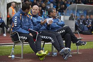 Jan Hoffmann, m�lmandstr�ner  (Br�ndby IF), Claus N�rgaard, assistenttr�ner (Br�ndby IF), Albert Capellas, f�rsteassistent (Br�ndby IF)