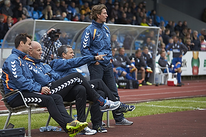 Jan Hoffmann, m�lmandstr�ner  (Br�ndby IF), Claus N�rgaard, assistenttr�ner (Br�ndby IF), Albert Capellas, f�rsteassistent (Br�ndby IF), Thomas Frank, cheftr�ner (Br�ndby IF)