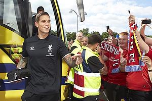 Daniel Agger (Liverpool FC) ankommer til Br�ndby Stadion