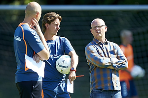 Claus N�rgaard, assistenttr�ner (Br�ndby IF), Thomas Frank, cheftr�ner (Br�ndby IF), Per Rud, sportschef (Br�ndby IF)