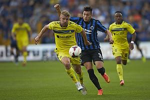 Michael Almeb�ck (Br�ndby IF), Nicolas Castillo (Club Brugge KV)