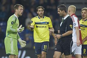 Nicolai Larsen (Aab), Johan Elmander (Br�ndby IF), Anders Poulsen, dommer