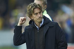 Thomas Frank, cheftr�ner (Br�ndby IF) jubler over sejren efter sidste fl�jt