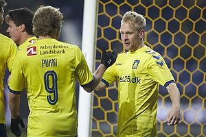 Teemu Pukki (Br�ndby IF), Johan Larsson, m�lscorer (Br�ndby IF)