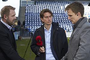 Joachim Boldsen (Viasat), Thomas Frank, cheftr�ner (Br�ndby IF), Jesper Gr�nkj�r (Viasat)