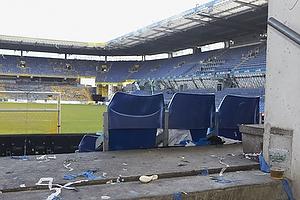 Udebaneafsnittet p� Br�ndby Stadion efter derbyet imellem Br�ndby IF og FC K�benhavn