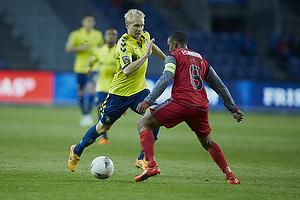 Johan Larsson (Br�ndby IF), Patrick Mtiliga (FC Nordsj�lland)