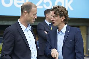 Jess Thorup, cheftr�ner (FC Midtjylland), Thomas Frank, cheftr�ner (Br�ndby IF)