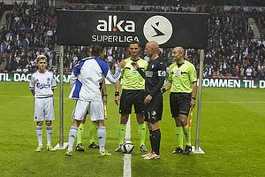 Thomas Delaney, anf�rer (FC K�benhavn), Anders Poulsen, dommer, Christian Keller (Randers FC)