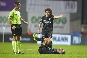 Anders Poulsen, dommer, Mustafa Amini (Randers FC)