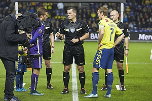 Thomas Kahlenberg, anf�rer (Br�ndby IF), Jakob Poulsen, anf�rer (FC Midtjylland), Michael Tykgaard, dommer
