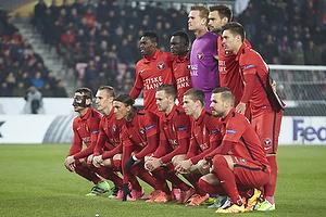 Mikkel Andersen (FC Midtjylland), Kian Hansen (FC Midtjylland), Tim Sparv, anf�rer (FC Midtjylland), Nikolay Bodurov (FC Midtjylland), Martin Pusic (FC Midtjylland), Vaclav Kadlec (FC Midtjylland), Kristoffer Olsen (FC Midtjylland), Kristoffer Olsen (FC Midtjylland), Pione Sisto (FC Midtjylland), Andr� R�mer (FC Midtjylland), Rilwan Hassan (FC Midtjylland), Filip Novak (FC Midtjylland)