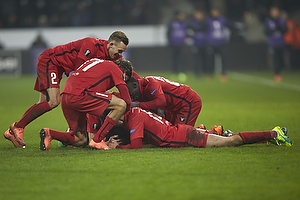Paul Onuachu, m�lscorer (FC Midtjylland), Tim Sparv, anf�rer (FC Midtjylland), Kian Hansen (FC Midtjylland)