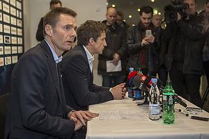 Jan Bech Andersen, bestyrelsesformand (Br�ndby IF), Thomas Frank, cheftr�ner (Br�ndby IF)