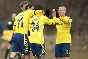 Johan Elmander (Br�ndby IF), Daniel St�ckler (Br�ndby IF), Magnus Eriksson (Br�ndby IF)