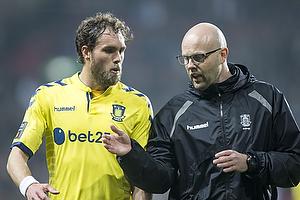 Johan Elmander (Br�ndby IF), Claus N�rgaard, assistenttr�ner (Br�ndby IF)