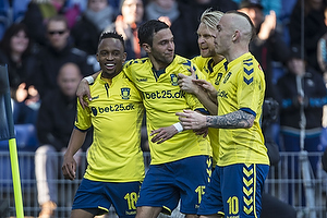 Lebogang Phiri, m�lscorer (Br�ndby IF), David Boysen (Br�ndby IF), Johan Larsson (Br�ndby IF), Magnus Eriksson (Br�ndby IF)