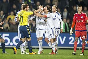 Johan Elmander (Br�ndby IF), Thomas Delaney, anf�rer (FC K�benhavn)