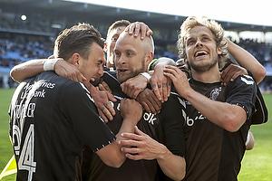 Daniel St�ckler (Br�ndby IF), Johan Larsson, m�lscorer (Br�ndby IF), Teemu Pukki (Br�ndby IF)