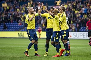 Johan Larsson, anf�rer (Br�ndby IF), Hany Mukhtar (Br�ndby IF), Teemu Pukki (Br�ndby IF)