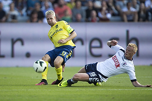 Johan Larsson, anf�rer (Br�ndby IF), Jens J�nsson (Agf)