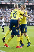 Hany Mukhtar, m�lscorer (Br�ndby IF), Johan Larsson, anf�rer (Br�ndby IF), Teemu Pukki (Br�ndby IF)