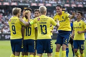 Teemu Pukki (Br�ndby IF), Hany Mukhtar, m�lscorer (Br�ndby IF), Johan Larsson, anf�rer (Br�ndby IF)