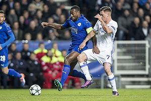 Wes Morgan, anf�rer (Leicester FC), Benjamin Verbic (FC K�benhavn)